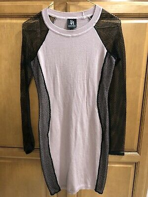 Derek Heart Sweater Dress, Pale Lavender with Black Mesh Sleeves, Bodycon, Small