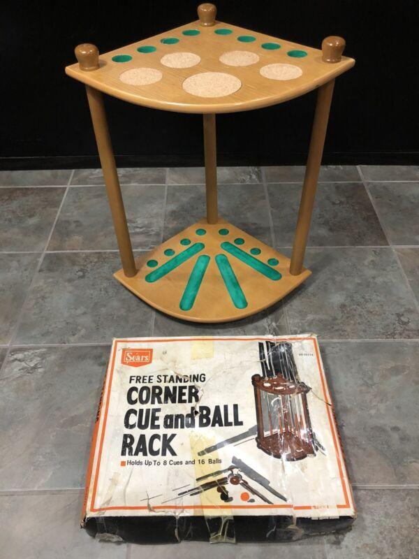 Vintage 8 Cue 16 Ball Wooden Corner Billiard Rack Pool Cue Sticks Holder