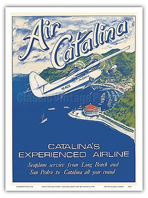 - Santa Catalina Island California Vintage Airline Travel Art Poster Print