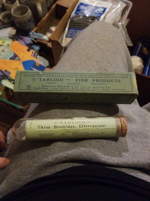 antique THREE BROMIDES effervescent w TABLOID CONTENT quack medicine BOX large