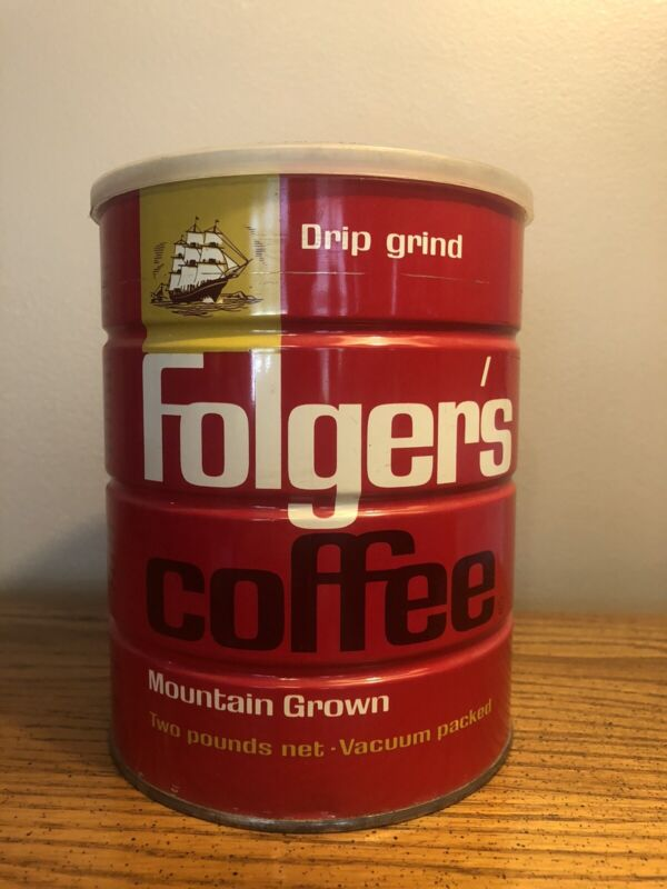 "VINTAGE FOLGERS COFFEE TIN 6.5"" 2LBS WITH LID EXCELLENT CONDITION"