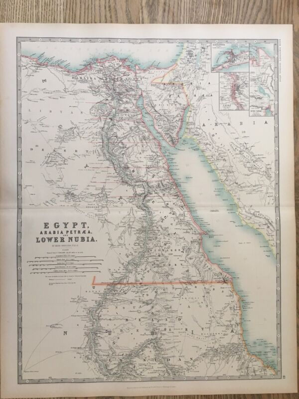 1894 Egypt & Lower Nubia Large Antique Map by A.K. Johnston