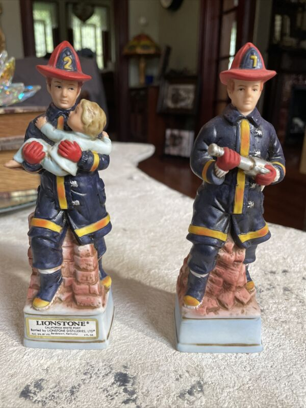 2 Vintage Lionstone Fireman Whiskey Decanter Saving Child Porcelain Fire Hose