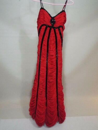 Gypsy red black wedding dress gown size S free shipping