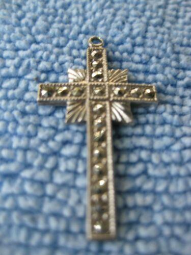 Vintage STERLING Silver MARCASITE  CROSS - BY THEDA  It really sparkles.