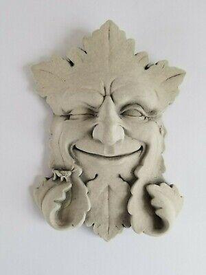 Vintage 1989 Carruth Studio Garden Smile Plaque Face Decoration Hand Cast Stone Garden Stone Plaque