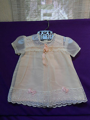 Vintage Baby Doll Girl DRESS 2 pc White Sheer Tulle Eyelet Lace 6-12 Pink Bows