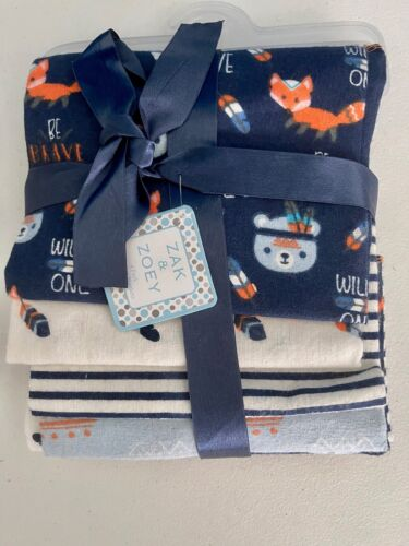 NEW Zak & Zoey Blue Fox Bear Wild One Lot 4 Receiving Baby Blankets