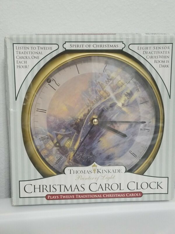 Thomas Kinkade Christmas Carol Clock 12 Carols NOS In Box Gold Tone With Stand