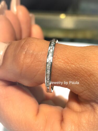 Ring - 14k Solid White Gold Diamond Eternity Band Stackable Ring Endless Wedding Band