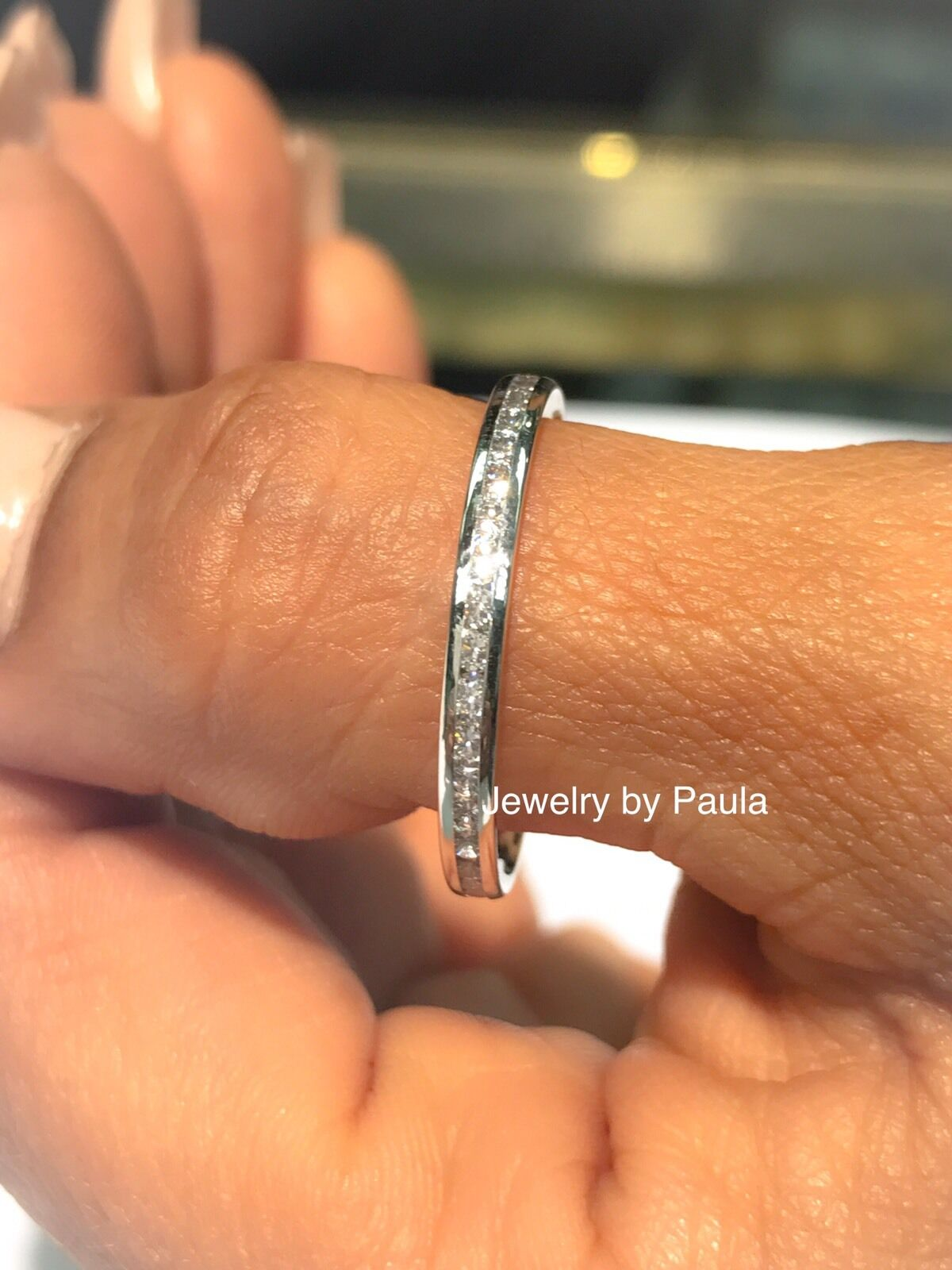 14k Solid White Gold Diamond Eternity Band Stackable Ring En