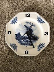 Vintage Dutch Delft Blue Windmill Wall Clock Holland Inspired