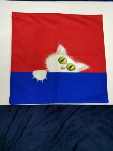 scary cat curious red and blue microfiber pillow cover 18 x