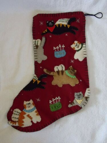 New Red Cat Christmas Stocking With Applique Cats 17""