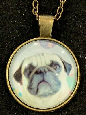DOG Necklace NEW Domed Cabochon w/ chain (I) Bronze tone Puppy