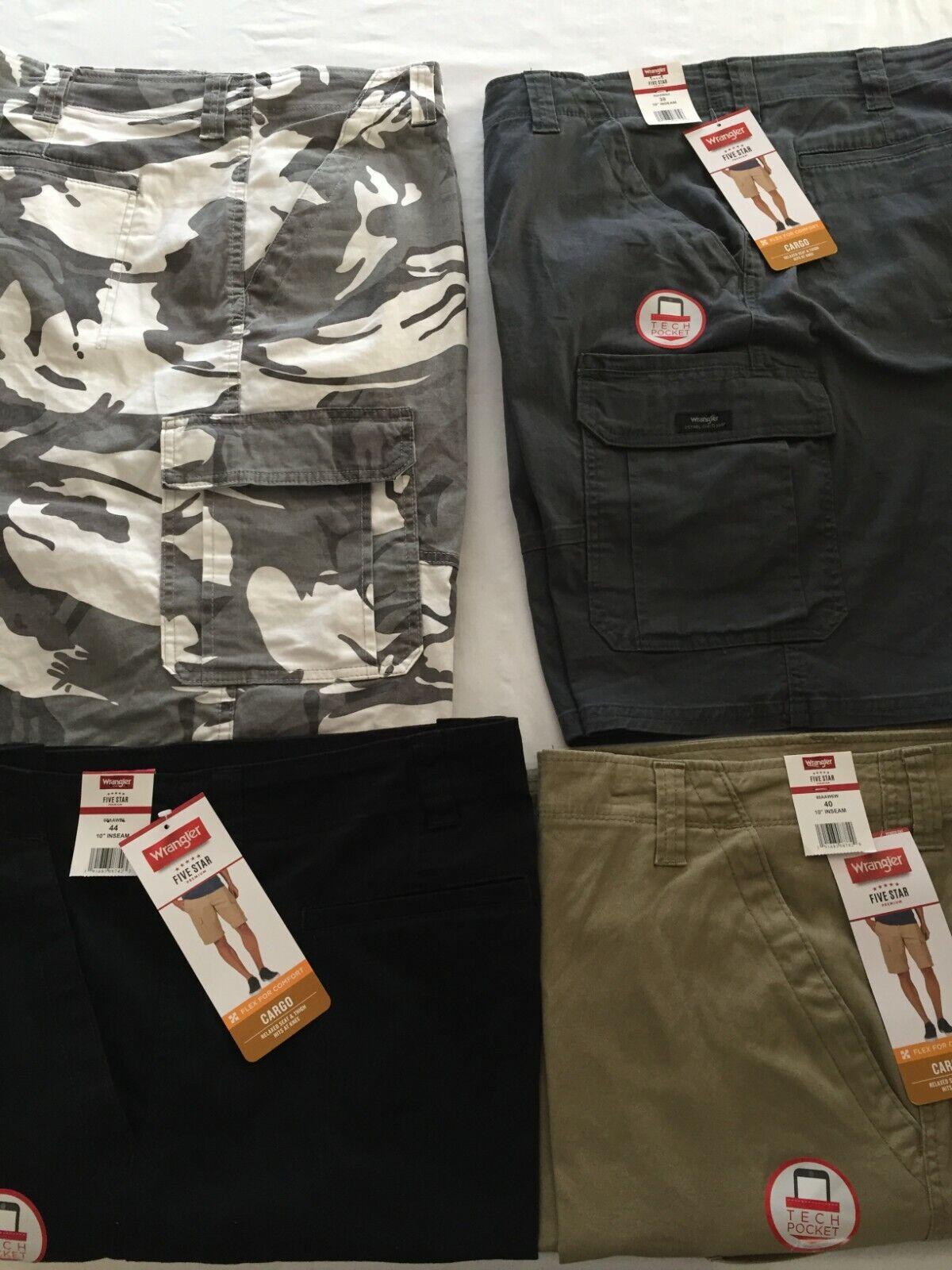 NWT Wrangler Men Cargo Shorts Gray, White Camo 1 Tech Pocket