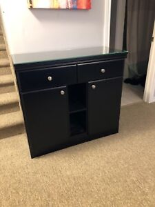 Black Hutch With Glass Top