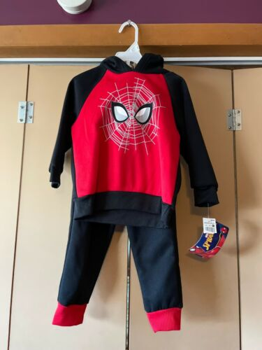 New Boys Outfit Spider-man Shirt Sweat Pants Set Marvel size 2T NWT