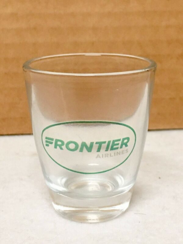 GREEN FRONTIER AIRLINES 2 OZ VINTAGE COLLECTIBLE SHOT GLASS