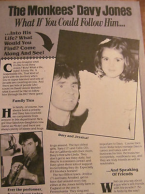 Davy Jones, The Monkees, Full Page Vintage Clipping