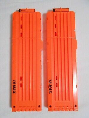 Lot of 2 Nerf N-Strike 18 round Orange Ammo Clip Magazines