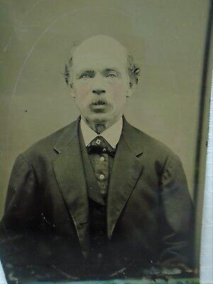 Antique Tintype Photo Bald Man with Moustache great Fashion Suit & Neck Tie