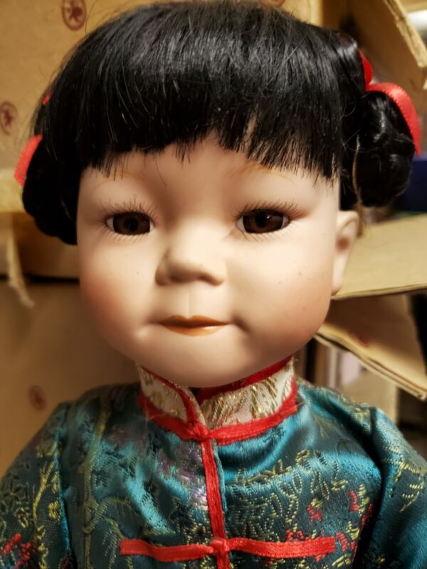 """Absolutely Adorable Porcelain 18"""" Duckhouse Dolls Handcrafted Oriental Doll"""