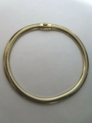 "VTG12K Gold Filled Wide Omega Flexible Snake Chain Choker Necklace 16"""