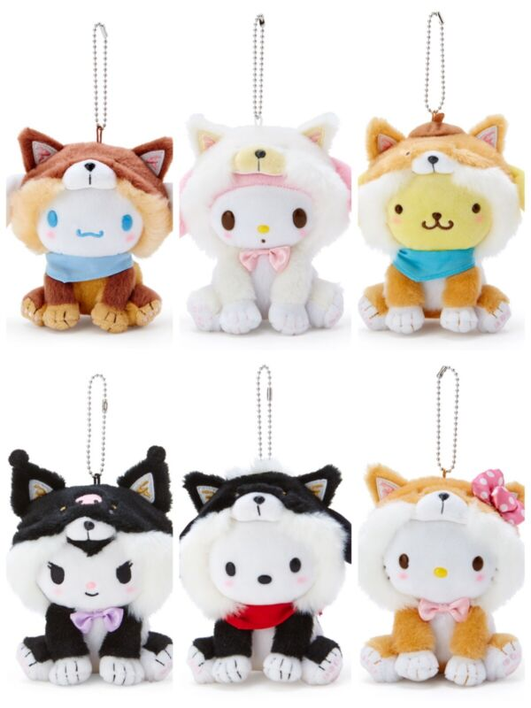Sanrio Mascot Holder Plush Doll Shiba inu Dog Official Hello Kitty My Melody ...
