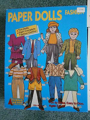 Set of Paper Dolls NIB 2 Cardboard Dolls 8 Outfits Uncut