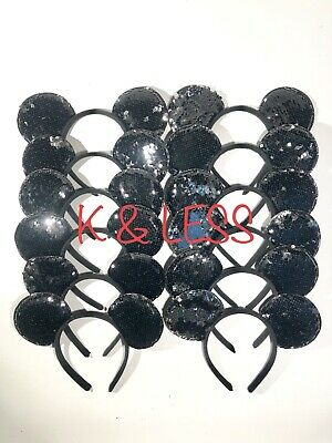 24pcs Minnie Mickey Mouse Ear Headbands Black Fish Scale Party Favors - Black Birthday Party Hats