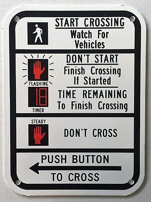 Traffic Light Pedestrian Crosswalk Instructions Push Button Sign New Old Stock