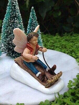 Miniature Dollhouse FAIRY GARDEN ~ CHRISTMAS Toboggan Fairy Boy ~ NEW
