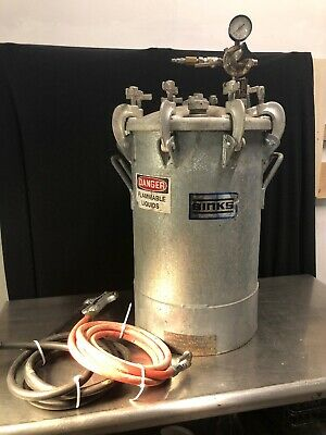 Binks 10 Gallon Pressure Pot Tank Galvanized Steel 83-5301 W Gun Hoses