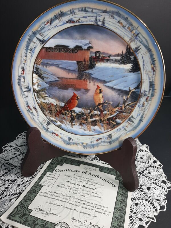 1994 Collectors Plate Pine Grove Morning By Sam Timm Cardinals Birds Winter