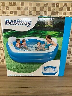 Bestway Family Fun Inflatable 575 L Pentagon Pool - Blue / White 2.13mX2.07X69cm