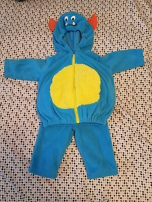 Carter's blue monster infant fleece 2 pc costume 3-6 months Halloween