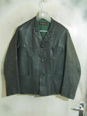 Vintage 40's WW2 SWEDISH Akta Getskinn Distressed Leather Jacket Size S
