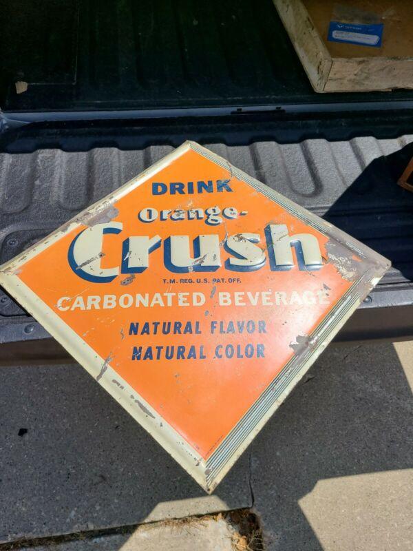 VINTAGE Original ORANGE CRUSH Soda Pop Advertising Sign