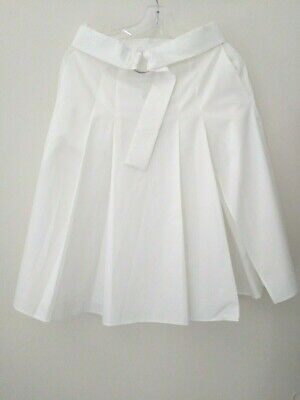 Zara Woman S regular solid white cotton pleated belted casual A-line skirt
