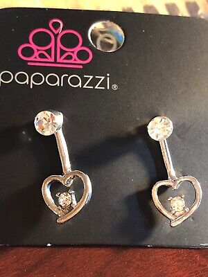 😍 PAPARAZZI Valentine's Days SILVER JACKET HEART Post Earrings NWT Stunning 😍