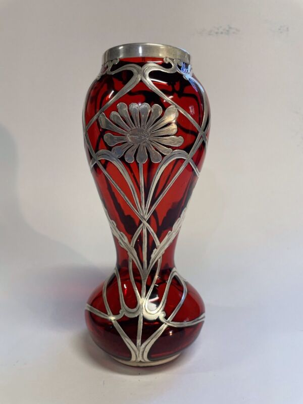 Art nouveau Vase With Silver Overlay