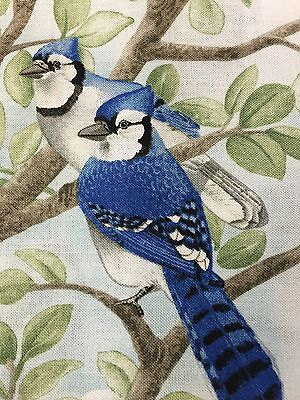 "Fabric Bird Quilt Square 4 3/4"" x 6"" Cotton 2 Blue Jays Elizabeth Qty 1"
