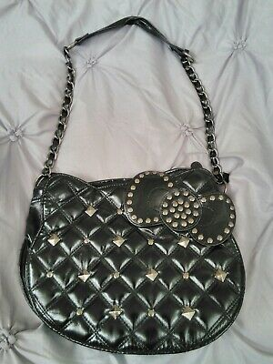 Pre-owned Sanrio Hello Kitty Patent Leather Quilted Purse Studded Chain (Hello Kitty Black Leather)