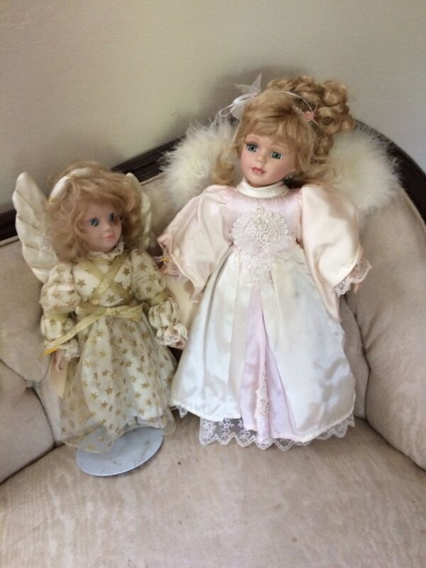 2 Beautiful Angels Porcelain Collectible Dolls