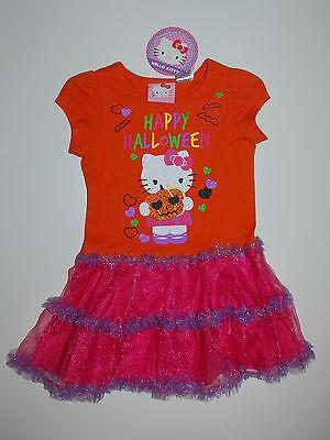 Kleid~USA~98-104~Hello Kitty~Halloween~Kürbis~Mädchenkleid~Tutu~orange~neu