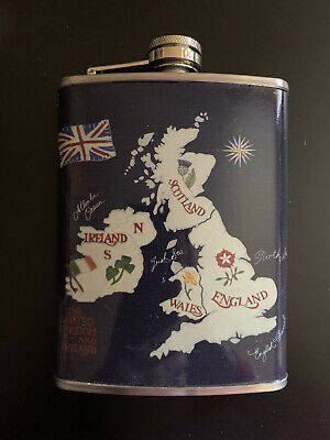 Vintage Style Map England Hip Flask
