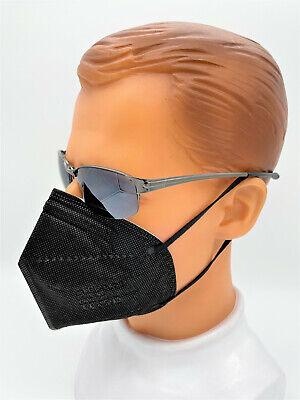 25 x FFP2 Maske Atemschutzmaske Schwarz Zertifiziert 5-Lagig Mundschutz CE0598