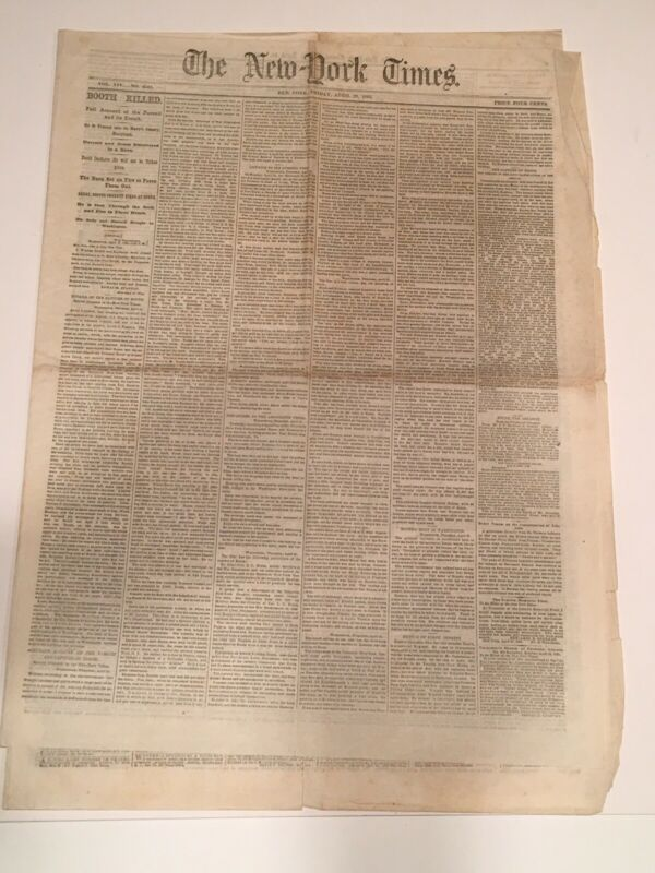 """ BOOTH KILLED"" NEW YORK TIMES HEADLINE - APRIL 28, 1865"