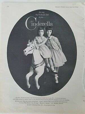 1967 Cinderella Kleine Mädchen Kleider Brunettes Karussell Pferd Ride Vintage